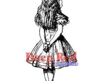 Alice in Wonderland Rubber Stamp (Alice in Wonderland Cling Stamp) Alice Standing Rubber Stamp • Alice Rubber Stamp (3X404400)