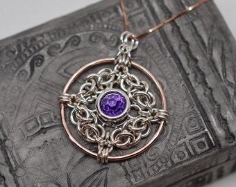 Celtic knot chainmaille amulet pendant in sterling silver & gold filled with 8mm gemstone