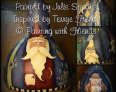 Primitive E-Pattern Christmas Santa Candles Gourd Design Terrye French