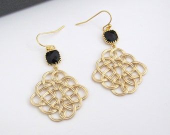 Jet Black Gold Plated, Gold Chandelier Filigree Earrings. Bridesmaid Earrings, Bridal Wedding Jewelry. For Her
