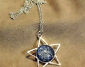 ARKTOS - Unique OOAK art necklace - celestial dome, vintage intaglio, starry sky, constellation - signed and dated - handmade wearable art