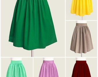 Cotton gathered skirt with pockets - full skirt in black blue red navy brown red mint gray lavender plum mustard yellow tan hot pink