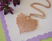 Rose Gold Cottonwood Leaf Necklace, Real Leaf Necklace, Cottonwood, Cottonwood Leaf, LC44
