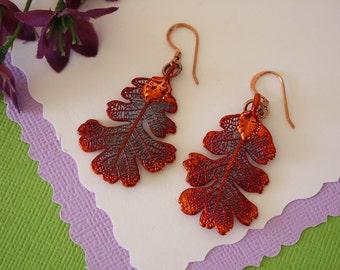 Copper Leaf Earrings, Oak Leaf, Real Leaf Earrings, Copper, Lacey Oak Earrings, Nature, LESM114