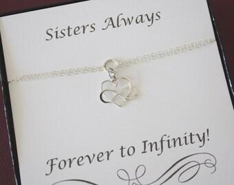 Sister Infinity Bracelet, Infinity heart charm, Bridesmaid Gift, Sterling Silver, Silver Infinity Bracelet, Card