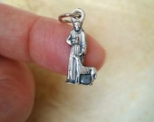 St. Francis of Assisi Silhouette Charm, Bracelet Holy Medal, Rosary Parts, Catholic Jewelry Supplies