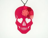 """Blooming Love Skull Necklace - LARGE 3""""-Barbie Pink Skull with Pink Flowers (C.A.B. Fayre Original Design)"""