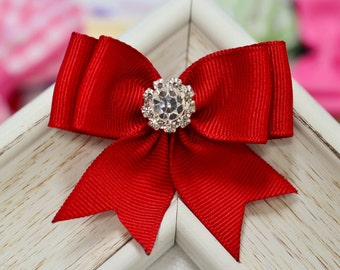 New! Set of 2pcs handmade Grosgrain Bow--red (GR1150)