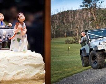Custom Jeep Wedding Cake Topper, Custom wedding cake topper, personalized cake topper, Bride and groom cake topper, Mr and Mrs cake topper