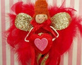 Valentine ornament pixie fairy ooak art doll vintage retro inspired red gold pink toni Kelly original red heart February