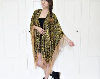 Fringe kimono duster, tribal print duster jacket, fringe kimono jacket, tribal print jacket, boho kimono jacket
