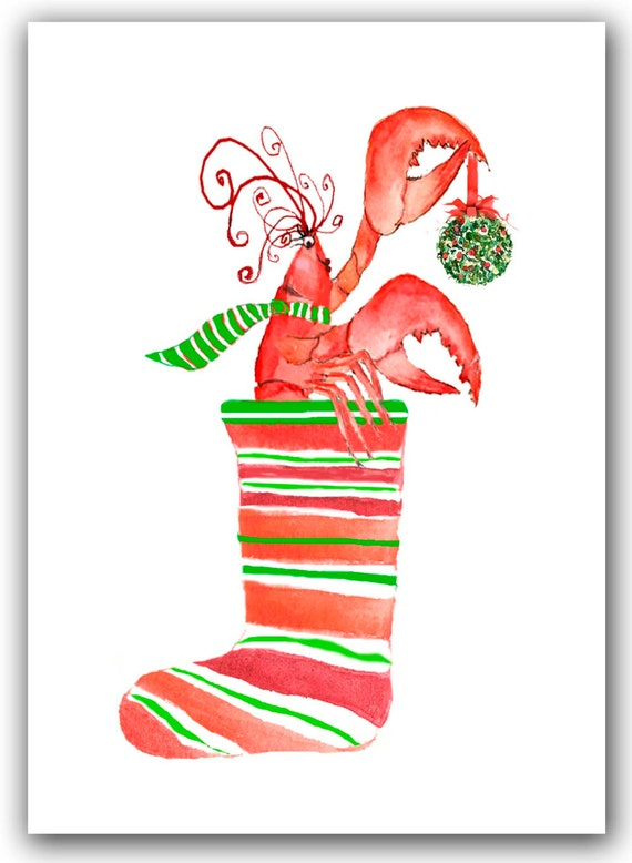 Lobster in stocking Christmas cards. set of 10. boxed set.