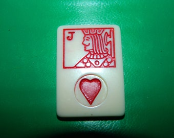 Vintage Rummy Game Piece JACK of Hearts, Valentine Game Chip, Resin, Jewelry Supplies, Craft, Mixed Media, Heart, Valentine, JACK