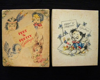 Vintage Pair of Empty Greeting Card Boxes with Beautiful Graphics