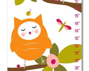 Children's Growth Chart - Nursery Art - Hoot Pink Growth Chart