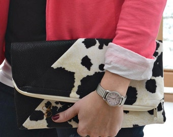 Suede Vegan Leather Foldover Clutch - Foldover Clutch Purse - Cow Print Clutch - Monogrammed Foldover Clutch - Vegan Leather Clutch Purse