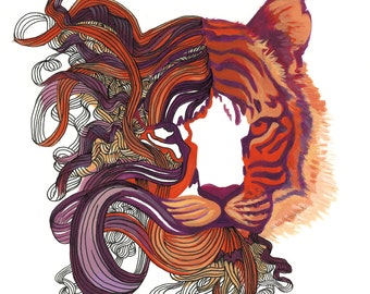 "Tiger Art - Cat Painting Orange, Red & Purple Tiger Print - ""Tiger Dreams"""