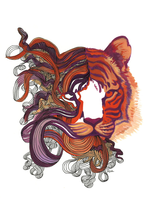 Purple Tiger Stargazer Nail Art Designs By Top Nails: Tiger Art Cat Painting Orange Red & Purple Tiger Print