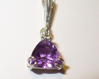 Genuine Amethyst Pendant ~ Trilliant Cut Natural Gemstone in Solid Sterling Silver