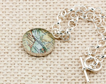 Sterling silver toggle bracelet with vintage map of Vancouver