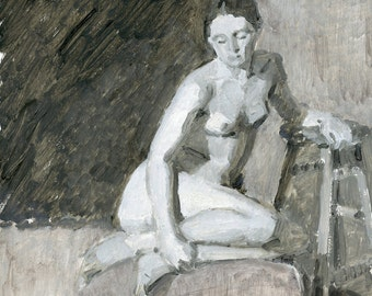 SALE Original Oil Painting of Female Figure - Xyara Grisaille