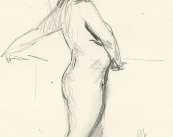 Original Female Nude Life Drawing - Alexandra Twisting