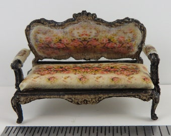 "KIT in Quarter Scale, Laser Cut and Engraved, French Country Roses Upholstered Sofa 1:48 1/4"" dollhouse LC012"
