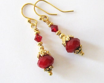 Ruby Red Crystal Earrings with Upcycled Vintage Gold Bead Caps, Repurposed Vintage Component