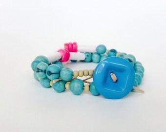 Wrap Bracelet Necklace Colorful Long Aqua Pink Beaded Necklace Lightweight Stacked Layered Jewelry Beach Handmade Jewelry Bohemian Jewelry