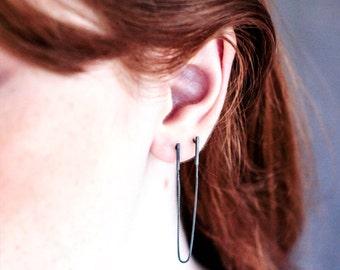 Chain Post Earrings for Double Pierced Ears, Minimalist Oxidized Silver Earrings