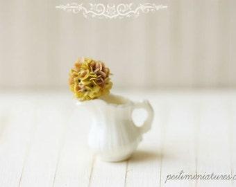 Dollhouse Miniature Flower - Vintage Hydrangea Flower in White Porcelain Jug