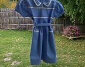 1940s Linen Dress Girls Size 6 Vintage Linen Blue Dress NEW