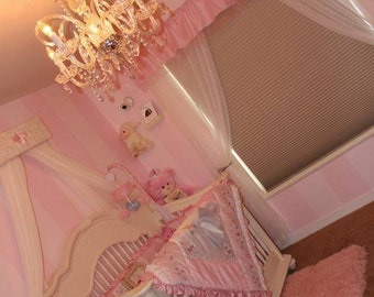 Ivory Lace Pink Nursery Bed Crown Canopy Princess Upholstered Sale Crib baby children girls Bedroom decor