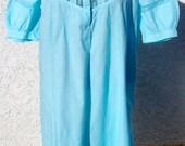 Vintage EDWARDIAN Cotton Nightgown AQUA Blue