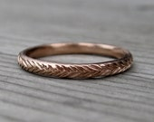 Feather Wedding Band: Rose, White, or Yellow Gold; 14k or 18k
