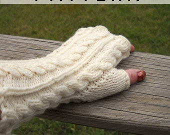 Knit Pattern - Fitted Cabled-Up Fingerless Gloves Instant Download