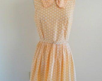 Sale vintage sears 50s dress • polkadot 1950s dress • big bow 50s party dress