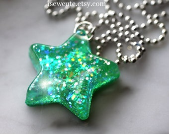 Star Necklace in Bright Green, Glitter Star Necklace, Catch a Falling Star, bright green glitter resin jewelry handmade by isewcute