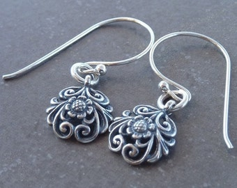 Flower earrings,  silver dangle earrings, winter jewelry,  drop earrings, sterling silver earings