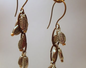 Bronze and Silver Leaves Earrings