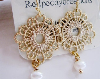 Gold Lace Chandelier Earrings, Gold Crochet Flower, Metal Crochet, Gold Pendant, Pearl and Gold, Wedding Jewelry, Bridesmaid Earrings