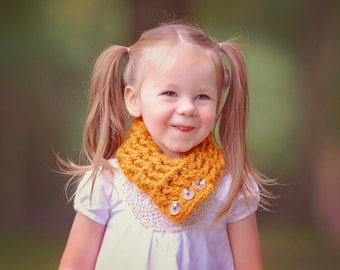 Toddler Scarf 1T to 4T Toddler Scarflette Toddler Girl Scarf Toddler Boy Scarf Butterscotch Scarf Orange Scarf Brown Scarf Button Scarflette
