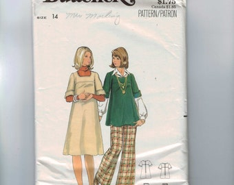 1970s Vintage Sewing Pattern Butterick 5735 Misses Maternity Dress Tunic and Pants Size 14 Bust 34 70s UNCUT  99