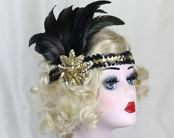 Black Feather Headband - 1920's Flapper Costume - Gold Headband - Great Gatsby Headpiece - Feather Fascinator - Prom Hair Accessory