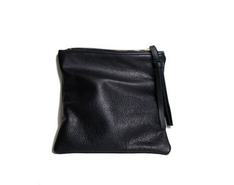 Black leather mini fold clutch