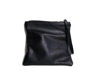 Black leather mini fold clutch