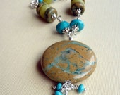 Necklace, Turquoise Trail, Natural Gemstones, Turquoise, Rhyolite, Aventurine, Earthy Organic, Blue, Green, Sterling, Bali and Fine Silver