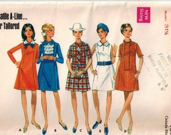 Vintage 60's Sewing Pattern for A-line Dress, Misses Size 8, Semi-Fitted
