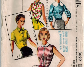 Vintage 50's Sewing Pattern, Blouses, Three Collar styles, Size 12 Bust 30