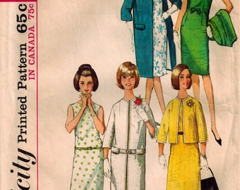 Vintage 60's Sewing Pattern, Shift Dress and Coat Pattern, Junior Size 11